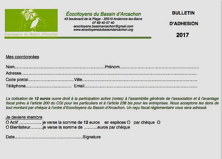Bulletin adhe sion 2017